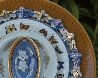 Blue Gold Butterflies Repurpose Glass Plate Flower vintage