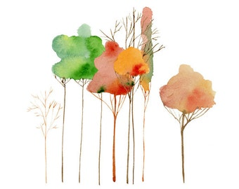 Autunm tree art print Tree watercolour Tree drawing print Giclee Autumn Trees print 8x11 illustration