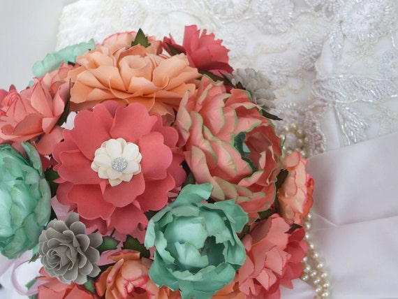 Peach and Mint Green - Paper Bouquet - Customize your Style and Colors - Made To Order