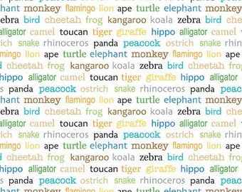 Riley Blake Designs  Zoofari White Words Fabric - 1 yard
