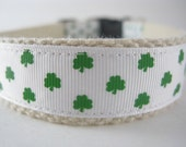 Hemp dog collar - St Patricks Day Irish Shamrock