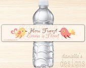 How Tweet - Personalized Adorable Bird Birthday Water Bottle Labels -Little Girl Birds, Chicks Party Favors - 35 Labels
