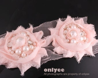 5pcs-55mm Rhinestone Centered Chiffon Flower for corsage,clothing,accessory and more-Pink(F213)