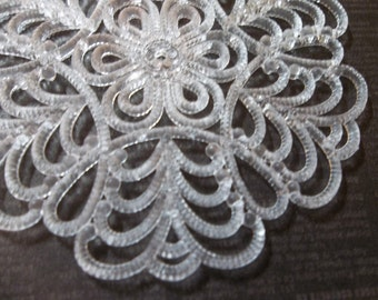 Large 55mm Round White Lucite Lacy Filigree Connector or Pendant - Qty 4