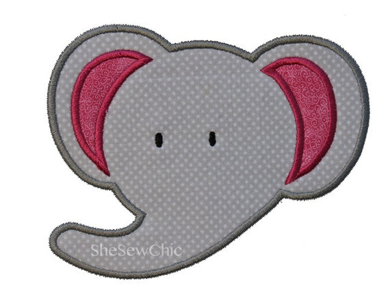 Elephant applique machine embroidery design