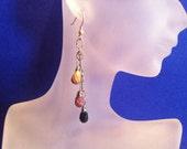 Indian Agate Teardrop Dangle Shoulder Duster Earrings