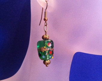 Emerald Green Gold Red and White Lampwork Beaded Earrings