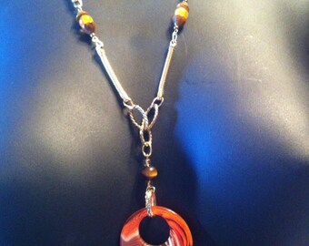 Orange Zebra Swirl Necklace