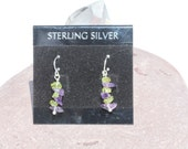 Tiny Periodot & Amethyst Earrings Designed in Sterling Silver