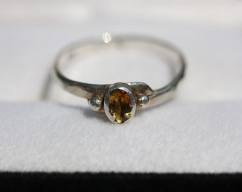 Big Yeller Citrine Ring set in Fine Silver w Embossed Sterling Silver Ring Shank Size 10 - 10.5