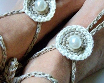 White Pearl Barefoot Sandal  Beach Wedding  Boho Anklet  Wedding accessories  Hippy Chic Barefoot Sandals  Nude shoes Yoga  Bohemian