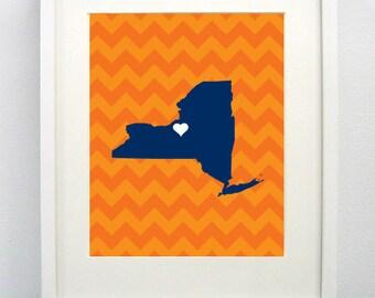 Syracuse, New York State Giclée Map Art Print  - 8x10 - Graduation Gift Idea - Dorm Decor