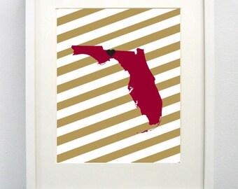 Tallahassee, Florida State Giclée Map Art Print  - 8x10 -  Graduation Gift Idea - Dorm Decor