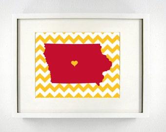 Ames, Iowa State Giclée Map Art Print  - 8x10 - Graduation Gift Idea - Dorm Decor