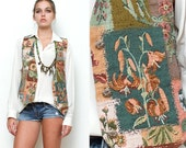 "Tapestry Vest Floral Vintage 80s 90s Revival Grunge Green Botanical Layering Piece Menswear Inspired Draped Top M (18"" Width)"