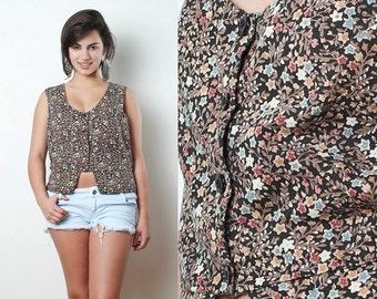 "Vintage 70s Top Blouse Calico Floral Sleeveless Cut-out Peplum Cotton M L (40"" bust) - Medium Large"