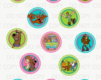 Printable DIY Scooby Doo Theme Cupcake Toppers - girl version