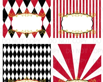 Printable DiY Vintage circus carnival Tent Food Labels- 4 designs blank INSTANT DOWNLOAD