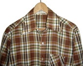 Vintage 1970's Button Up Plaid Shirt Mens M Medium Made In Israel