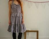 70's Vintage Checked Prairie Peplum Dress Size XS
