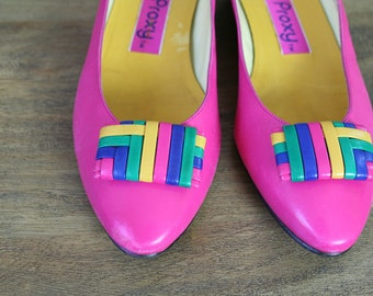 Vintage 80s Pink Leather Mini Wedge Flats Size 8