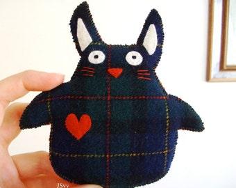 Plaid UpCycled Sweater Rabbit Stuffed Animal Sweater Green Plush Wool Felt