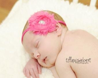 Hot Pink Chiffon Headband, shabby chic, newborn headband, baby headband, newborn photography prop