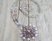 Light Pink Necklace - Crochet Wire Necklace - Sterling Silver Wire Crochet Medallion Necklace - Rose Pink Crystal - Rustic Wedding Jewelry