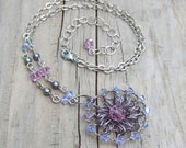 Light Purple Necklace - Crochet Wire Necklace - Silver Wire Crochet Medallion Necklace - Lavender Purple Crystal - Rustic Wedding Jewelry