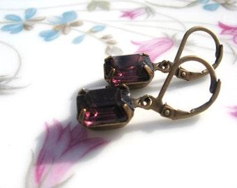 Vintage Jewel Amethyst Earrings