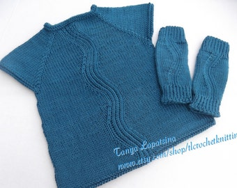 Hand Knit Baby Girl Tunic. Blue Baby Girl Tunic and Leg Wrmers Set. River Tunic and Leg Warmers Set. 12-18M.