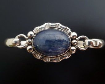 Kyanite Silver Bracelet - Handmade Sterling Silver and Blue Stone Bangle - Handmade Silver Kyanite Bangle