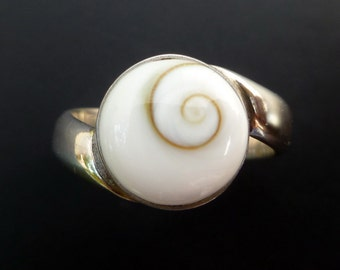 Sterling Silver and Shiva Eye Ring - Simple Shell Ring - Custom Made Shiva Eye Ring - Made to Order Sterling Silver Ring