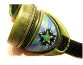 "Green Steampunk Circus Goggles - Cup Style - ""Grungy"" - Many Lens Colors Available - steamcircussteampunk"