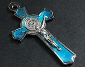 Aqua Blue Enamel Cross in Silver. Italian St Benedict Cross Charm. Rosary Cross. Rosary Supplies. 50x27mm Crucifix  (1 pc)