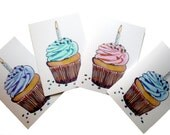 Cupcake Birthday Cards Set, Watercolor Art Birthday Greeting Cards, Set of 12