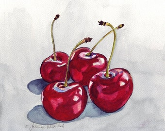 Watercolor Painting - Still Life - Cherries no.1 Watercolor Art Print, 5x7