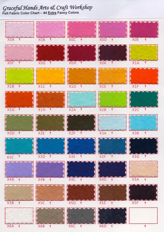 1mm Thick Fancy Felt Fabric Color Chart - All 88 Colors
