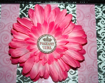 Pink Pageant Girl Flower Hair Clip
