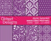 Purple Digital Paper Pack Damask Patterns Purple Scrapbook Paper