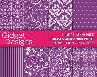 Purple Digital Paper Pack Damask Patterns Purple Scrapbook Paper