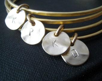 Gold bangles, set of 4 initial bangle bracelets, bridal jewelry, gold letter charm, bridesmaid bracelets