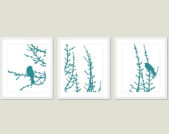 Birds and Branches - Digital Print Set - Medium Teal Blue - Modern Home Decor - Bird on Twig - Woodland Tree - Wall Art - Spring Summer