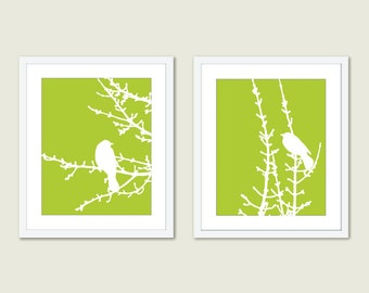 Spring Birds and Branches - Wall Art Print Set - Fresh Green Pea - Modern - Woodland -  Spring Summer Home Bird on Twig Decor