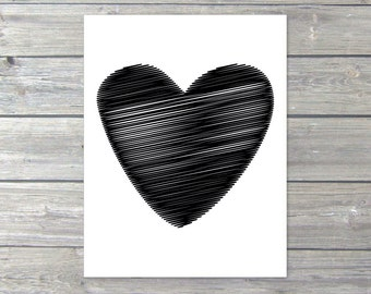 Black Heart Art Print Modern Wall Art Home Decor Love