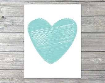 Heart Print - Blue Heart Art Print - Love Heart Pirnt - Nursery Heart Wall Art - Modern Heart Art - Heart Home Decor