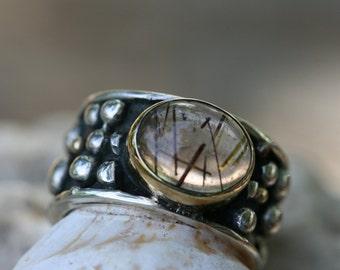 Silver Ring , Rutilquartz  Ring, Handmade Sterling Silver Ring, Silver and Gold  Ring