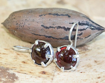 Sterling Silver Earrings, Garnet  Earrings, Handmade 925 Silver Earrings, Sterling Earrings