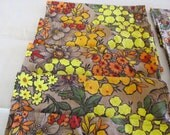 Vintage 1970 Fabric, Upcycled, Floral, Napkin Set Cloth