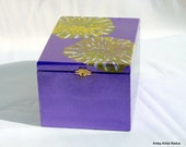 Royal Purple  Box, reuse wood cigar box with green yellow flower burst decoupage - AntsyArtist